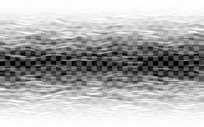 Transparent waves on checkered background. Eps8. RGB. Global colors stock illustration