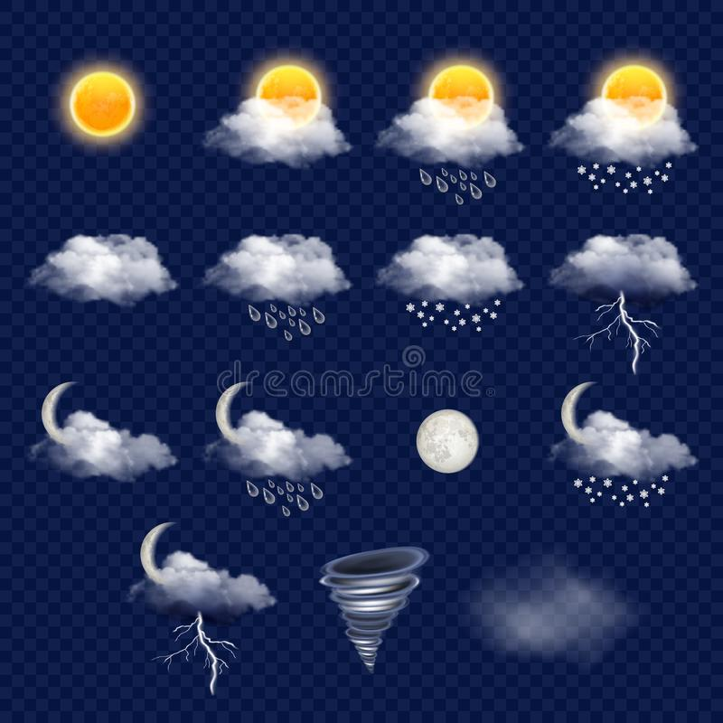 Transparent weather forecast icon set, vector realistic illustration stock illustration