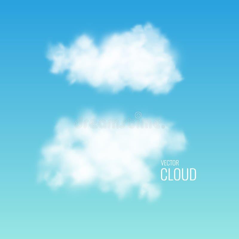 Transparent white cloud on the sky. Realistic illustration. stock illustration