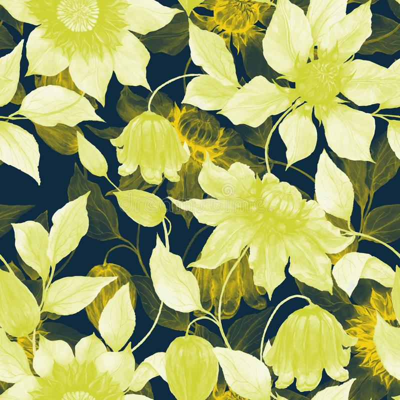 Transparent yellow clematis flowers on climbing twigs against black background. Seamless floral pattern. Watercolor painting. Hand painted illustration. Fabric stock illustration
