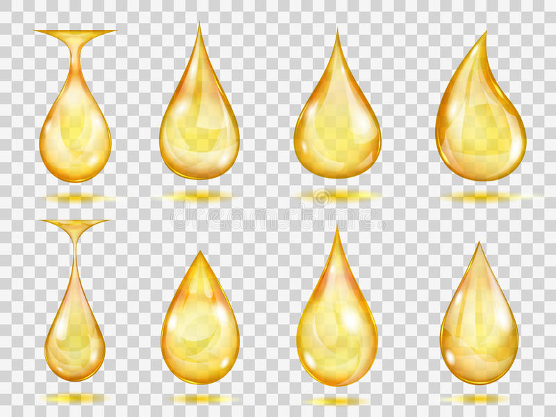 Transparent yellow drops. Set of transparent drops in yellow colors. Transparency only in vector format vector illustration