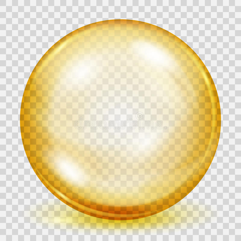Transparent yellow sphere with shadow vector illustration