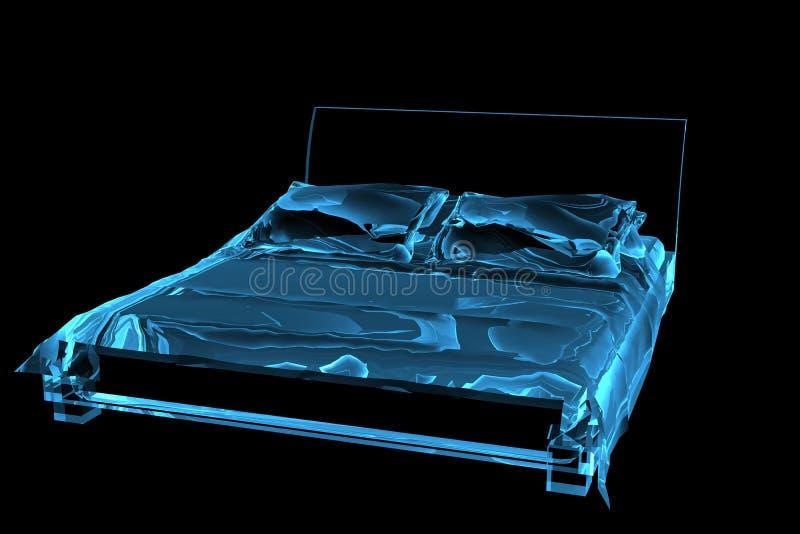 Transparente azul do raio X da cama 3D ilustração do vetor