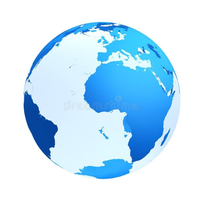 Transparente a cor do azul do globo ilustração do vetor