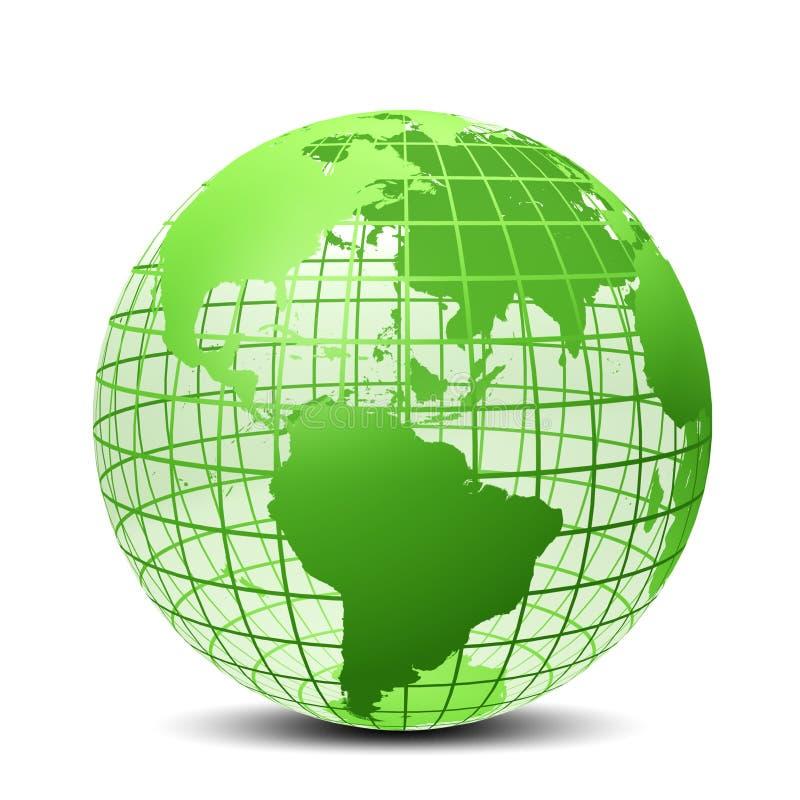 Transparente a cor verde do globo ilustração royalty free