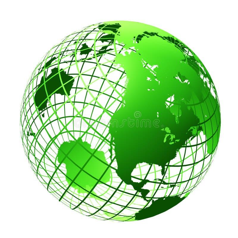 Transparente a cor verde do globo ilustração do vetor