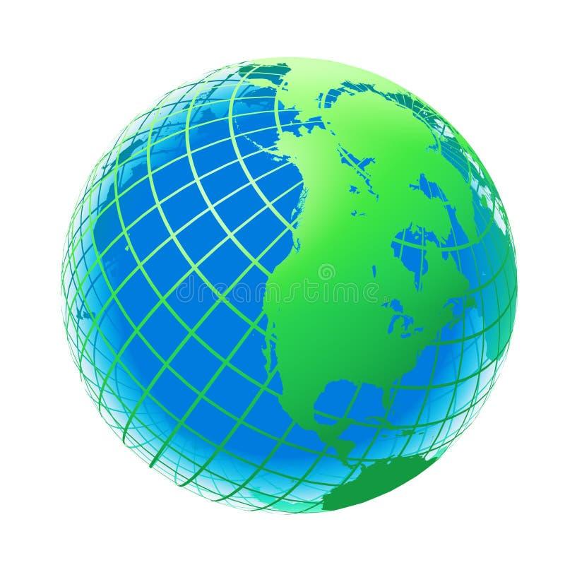 Transparente cor verde e azul do globo ilustração stock