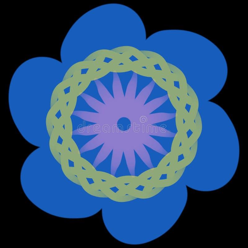 Transparente Dekoration Kombination blauer rosa yelow Blume vektor abbildung