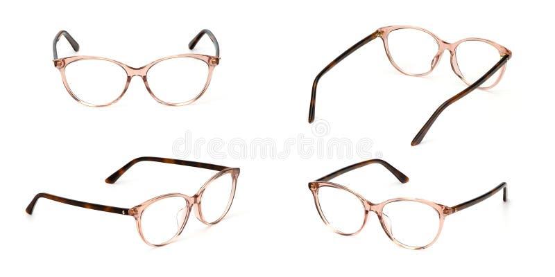 Transparente determinado del estilo del negocio de los vidrios aislado en el fondo blanco Vidrios del ojo de la oficina de la mod foto de archivo