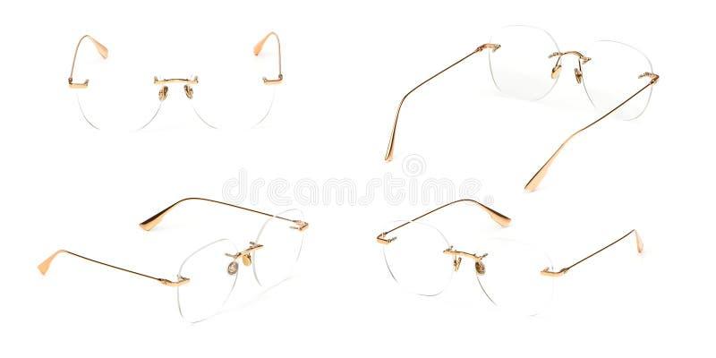 Transparente determinado del material del metal del oro de los vidrios aislado en el fondo blanco Vidrios del ojo de la oficina d foto de archivo
