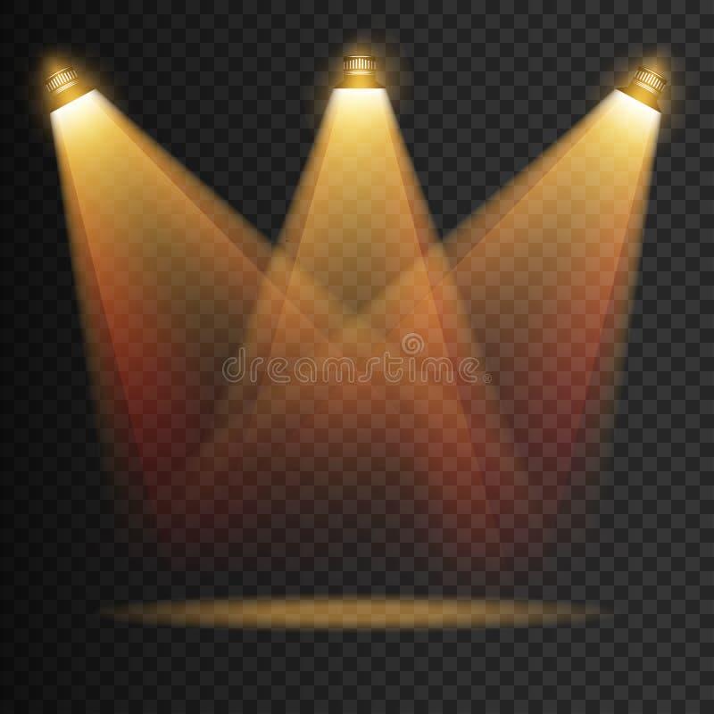 Transparente Effekte der Szenenbeleuchtung auf einen Plaiddunkelheitshintergrund Helle Beleuchtung mit lokalisierten Scheinwerfer lizenzfreie abbildung