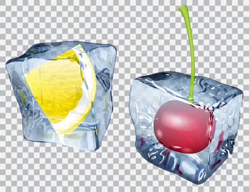 Transparente Eiswürfel mit Zitrone und Kirsche lizenzfreie abbildung