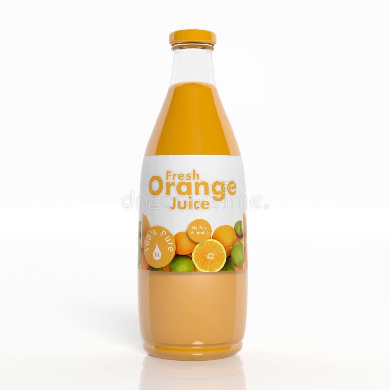transparente Glasflasche des Orangensaftes 3D vektor abbildung