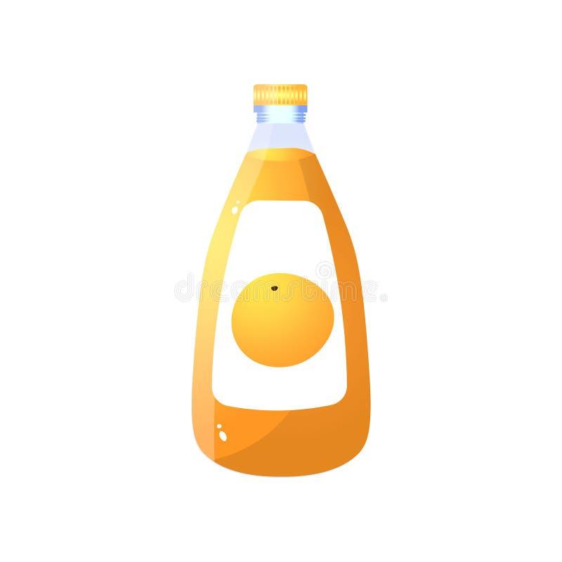 Transparente Glasflasche frischer natürlicher Orangensaft vektor abbildung