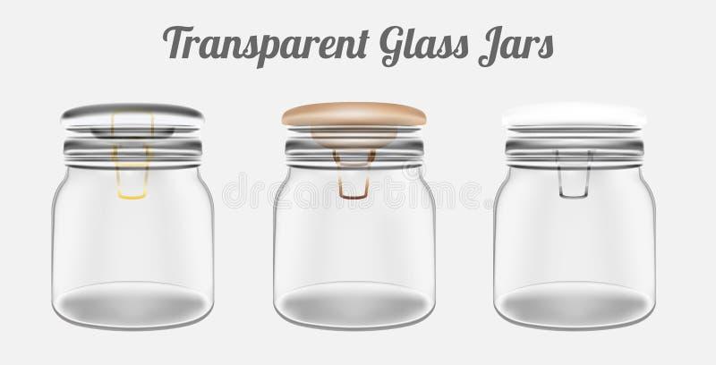 Transparente Glasgefäße stock abbildung
