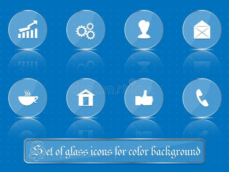 Transparente Glasikonen für irgendeinen farbigen Hintergrund Ein Satz einiger Teile Teil 1 stock abbildung
