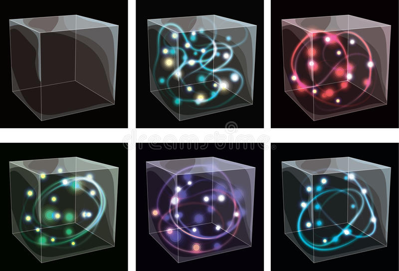 Transparente Glaskästen mit dem Glühen vektor abbildung