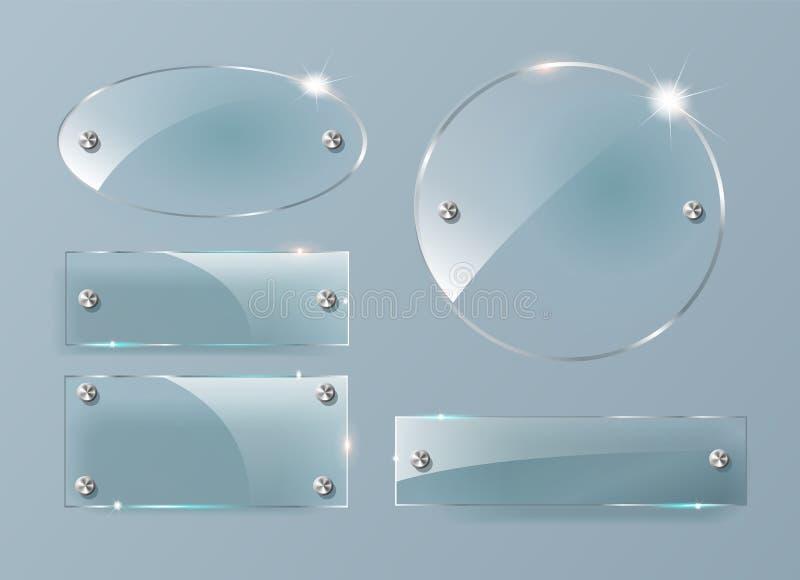 Transparente Glasplatten eingestellt Quadratische Form, Rechteck und runder Kreis Sehen Sie durch Schein oben mit Bergen vektor abbildung