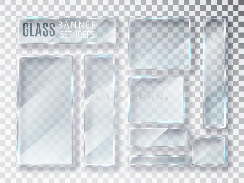 Transparente Glasplatten eingestellt Vector die modernen Glasfahnen, die auf transparentem Hintergrund lokalisiert werden Flachgl stock abbildung