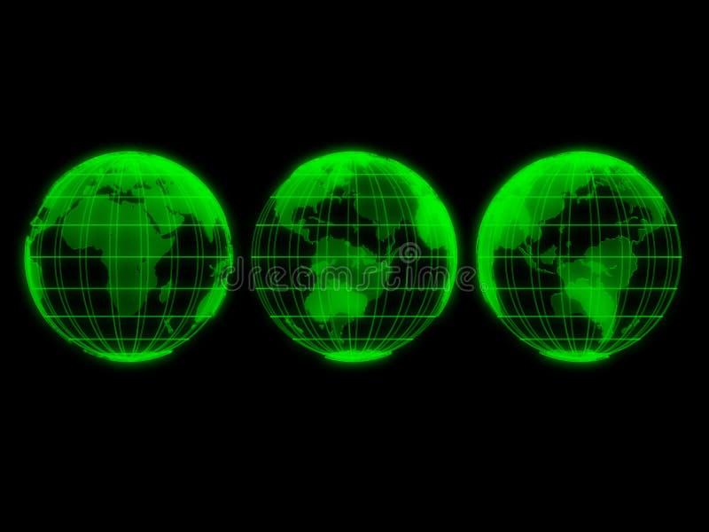 Transparente grüne Kugeln lizenzfreie abbildung