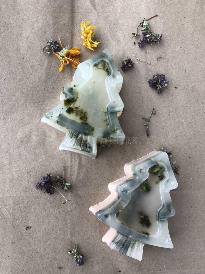 Transparente handgemachte Seife in Form von Weihnachtsbäumen mit Kräutern auf einem Hintergrund des rauen Papiers stockfotografie