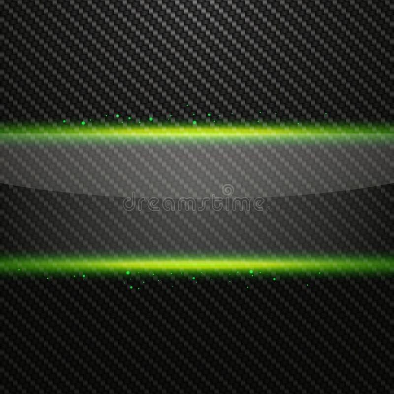 Transparente horizontale Glasfahne mit grünem Lichteffekt auf Kohlenstoffhintergrund vektor abbildung