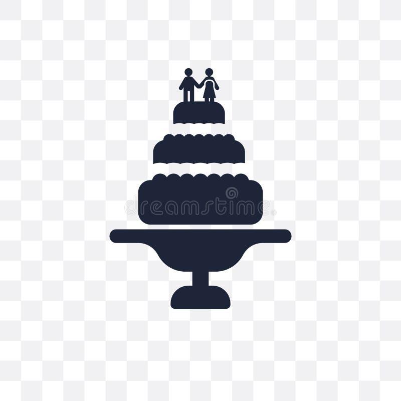 Transparente Ikone der Hochzeitstorte Hochzeitstortesymbolentwurf von W lizenzfreie abbildung
