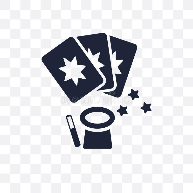 Transparente Ikone der magischen Karten Magischer Kartensymbolentwurf von HNO vektor abbildung