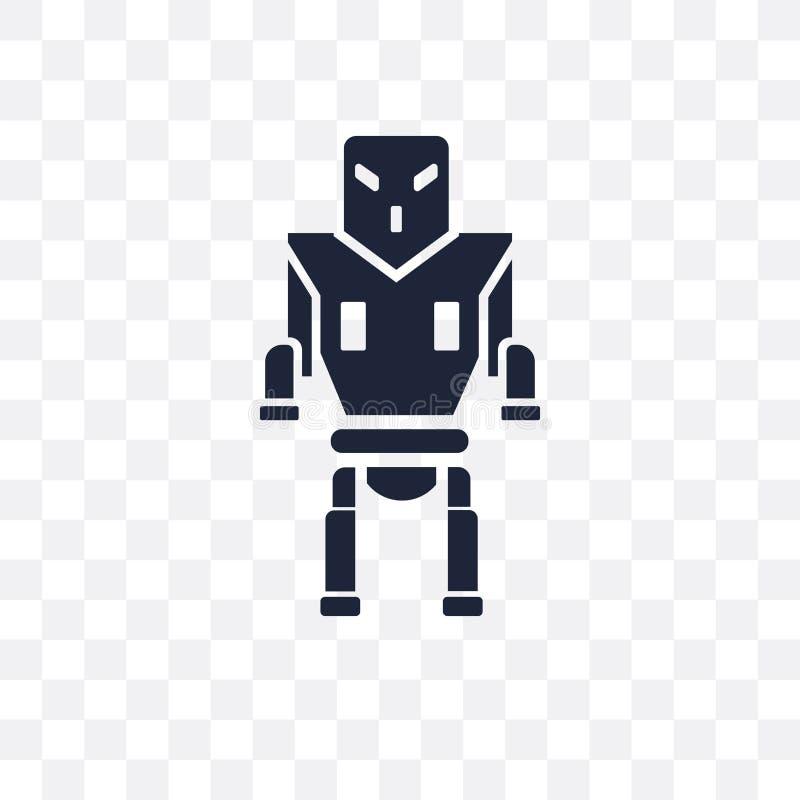 Transparente Ikone der Militärrobotermaschine Militärrobotermaschine stock abbildung