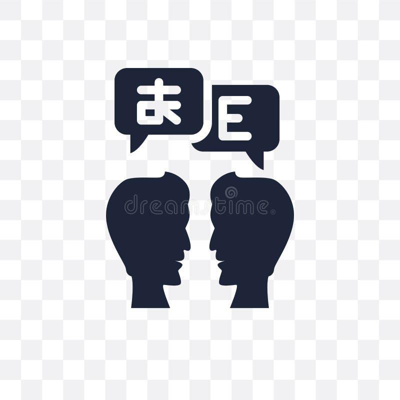 Transparente Ikone des Übersetzers Übersetzersymbolentwurf von Onlin lizenzfreie abbildung
