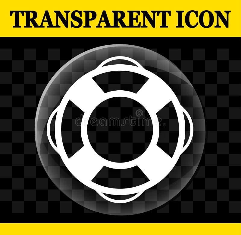 Transparente Ikone des Lebenbojenvektors stock abbildung