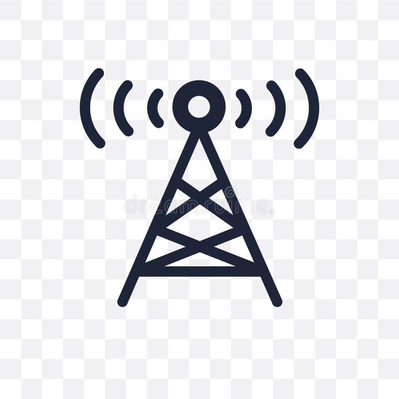 Transparente Ikone des Radioturms Radioturm-Symbolentwurf von der Karte lizenzfreie stockfotografie