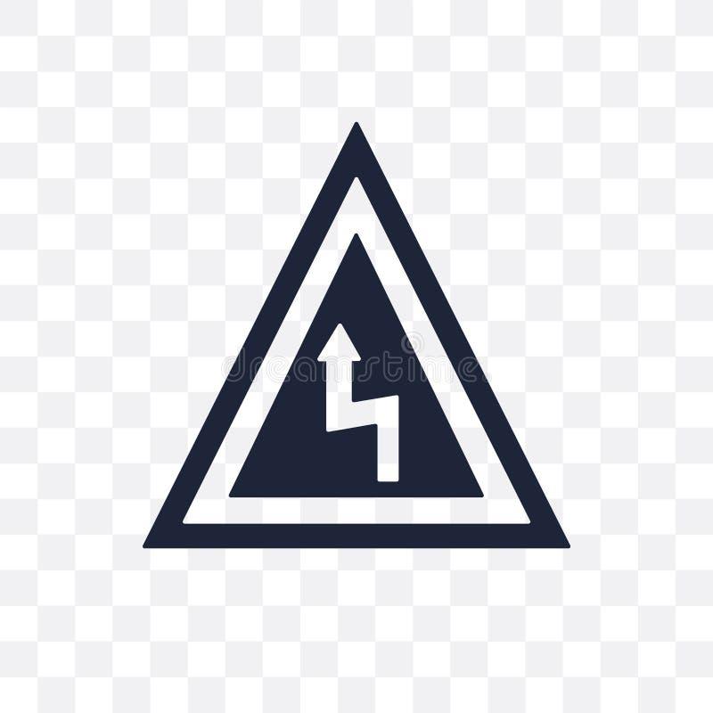 Transparente Ikone des rechten Biegungszeichens Rechte Biegung Sig stock abbildung