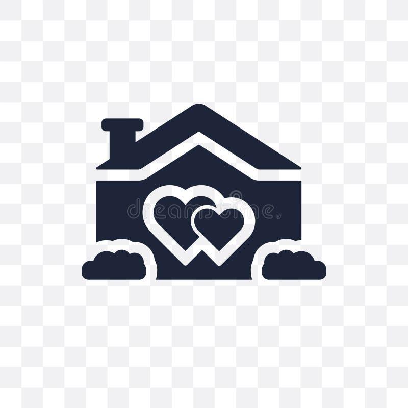 transparente Ikone Liebe Hauses Liebe Haus-Symbolentwurf von Weddi stock abbildung