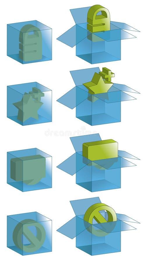 Transparente Kästen mit Ikonen vektor abbildung