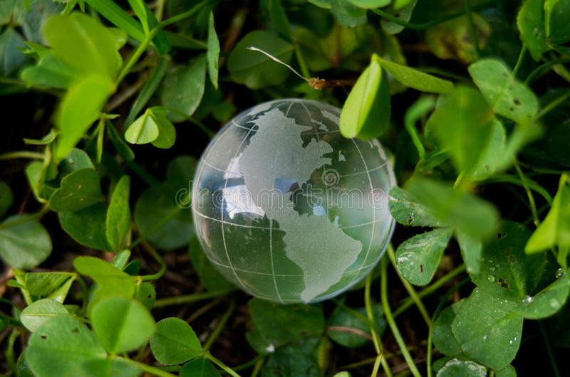 transparente Kugel im Gras lizenzfreie stockbilder