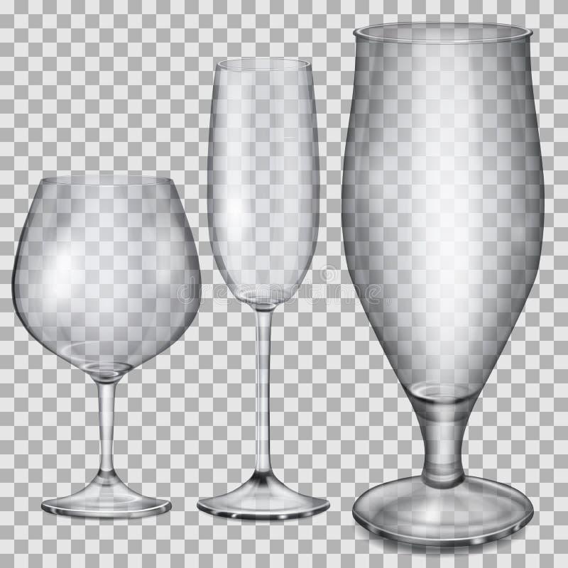 Transparente leere Glasbecher für Kognak, Champagner und Bier lizenzfreie abbildung