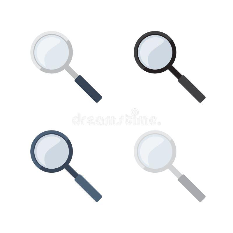 Transparente Lupe in 4 verschiedenen Farbveränderungen lizenzfreie abbildung