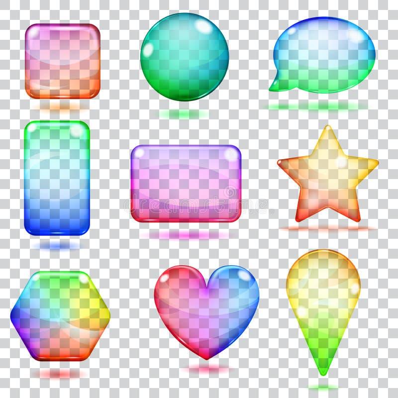 Transparente mehrfarbige Glasformen stock abbildung