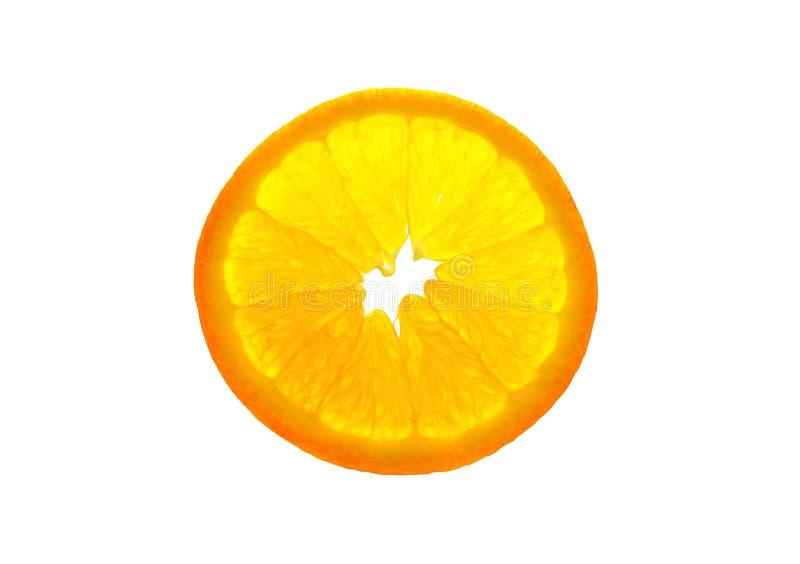 Transparente orange Scheibe lokalisiert auf weißem Hintergrund stockbild