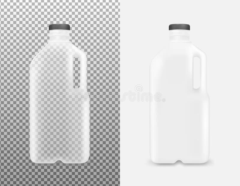 Transparente Plastikflasche mit Griff für Milch und Saft stock abbildung