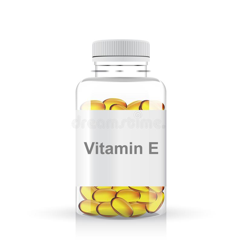 Transparente Plastikflasche Pillen des Vitamins e lizenzfreie abbildung