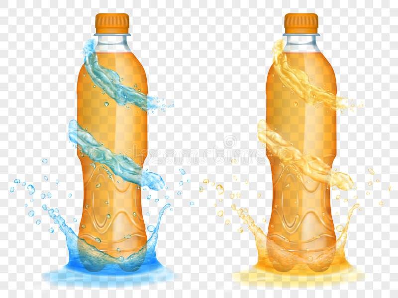 Transparente Plastikflaschen mit Wasser krönt und spritzt vektor abbildung