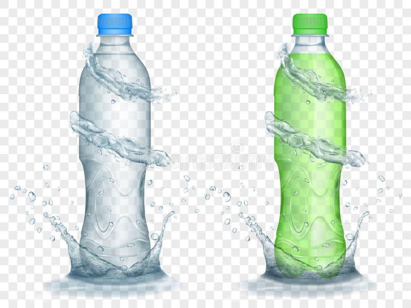 Transparente Plastikflaschen mit Wasser krönt und spritzt lizenzfreie abbildung