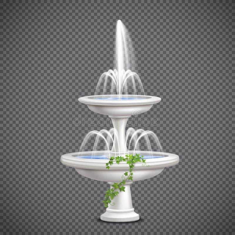 Transparente realista de la fuente de agua de la cascada stock de ilustración