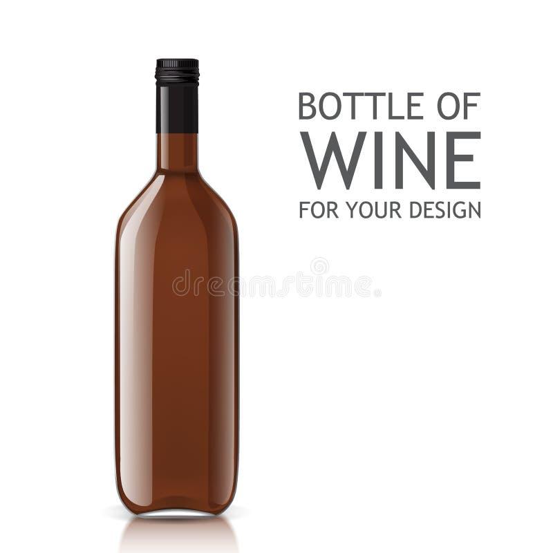 Transparente Realistische Leere Flasche Wein Vektor Abbildung ...