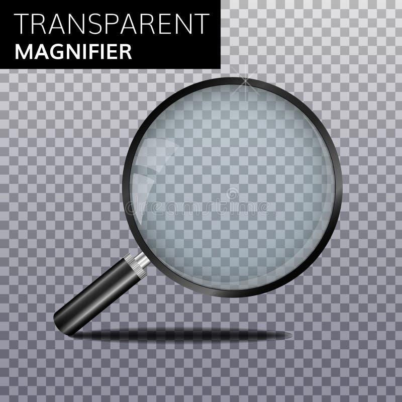 Transparente realistische vergrößern Glasvektor lizenzfreie abbildung