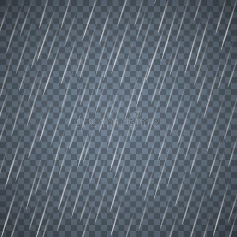 Transparente Regentropfen lokalisiert auf dunkelblauem Hintergrund Dichter Regen mit zerstreuten Wassertropfen lizenzfreie abbildung