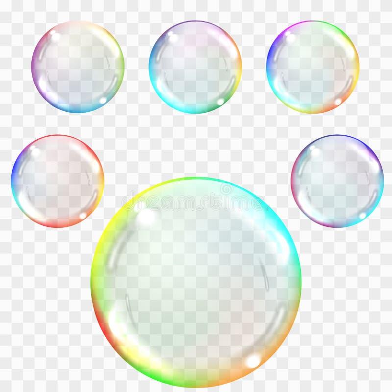Transparente Seifenluftblasen Realistische Illustration auf kariertem Ba vektor abbildung