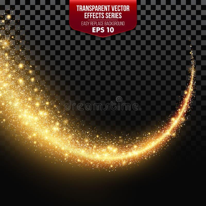 Transparente weiße Sternspur mit Partikeln Vektoreffekte lizenzfreie abbildung